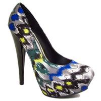 View Item LADIES BLACK SATIN PLATFORM ROUND-TOE WOMENS COURT SHOES SIZES 3-8